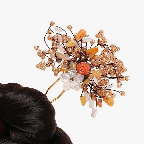 비취 원석 나뭇가지 뒤꽂이(홍색)