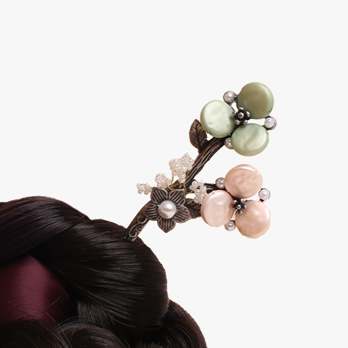 새순 꽃나무 뒤꽂이(연분홍)
