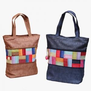 모시조각 가방(토색,청색)