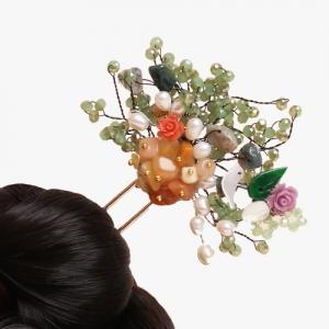 비취 원석 나뭇가지 뒤꽂이(녹색)
