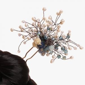 비취 원석 나뭇가지 뒤꽂이(천청색)