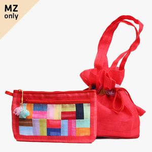 모시에코가방+파우치 세트(적색)
