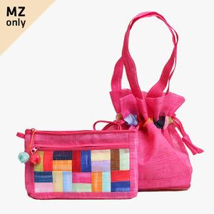 모시에코가방+파우치 세트(선홍색)