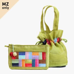 모시에코가방+파우치 세트(연두색)