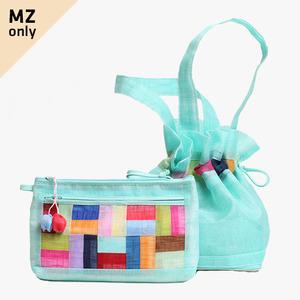 모시에코가방+파우치 세트(옥색)