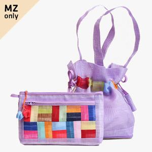 모시에코가방+파우치 세트(연보라색)