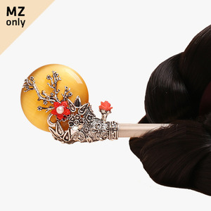 보름달 원석 비녀(황색)
