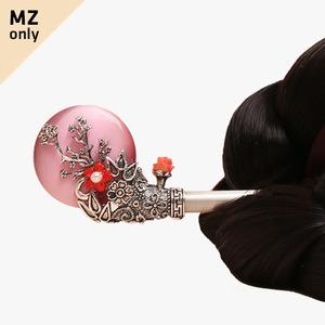 보름달 원석 비녀(분홍)
